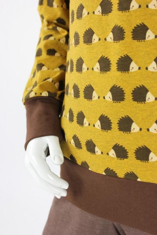 Kinder-Longsleeve mit Igeln auf gelb GOTS