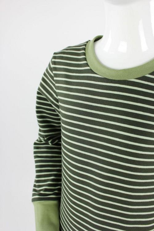 Kinder-Longsleeve grün gestreift GOTS