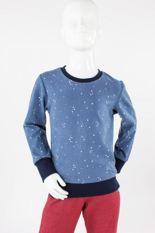 Kinder-Longsleeve blau mit Sternen GOTS