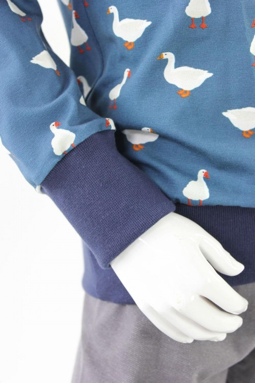 Kinder-Longsleeve blau mit Gänsen