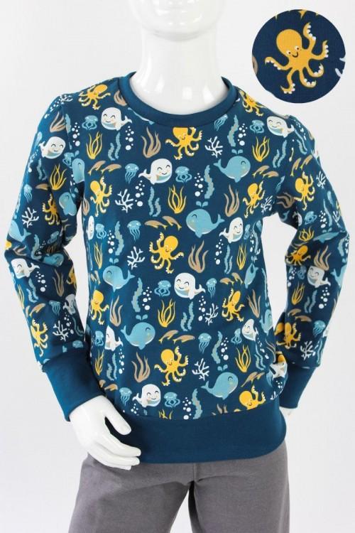 Kinder-Longsleeve dunkelblau mit Meerestieren BIO-STOFFE