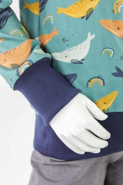 Kinder-Longsleeve meeresgrün mit Walen