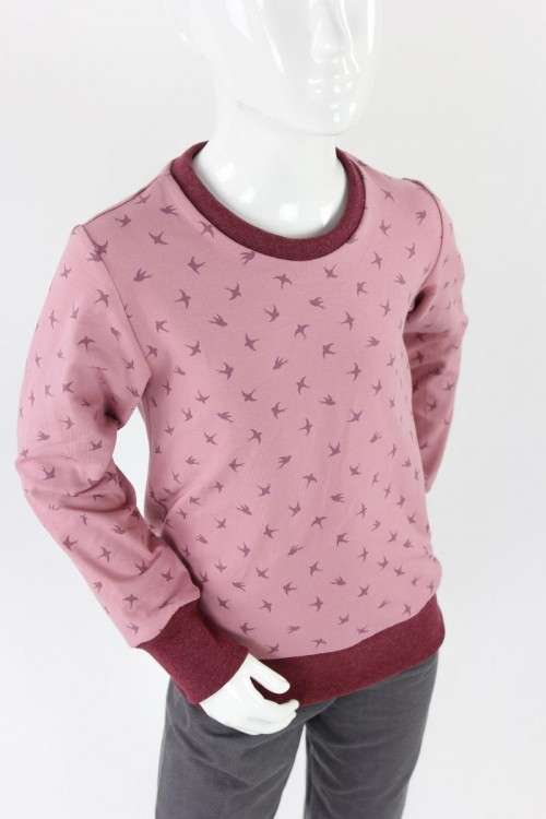 Kinder-Longsleeve rosa mit Vögeln