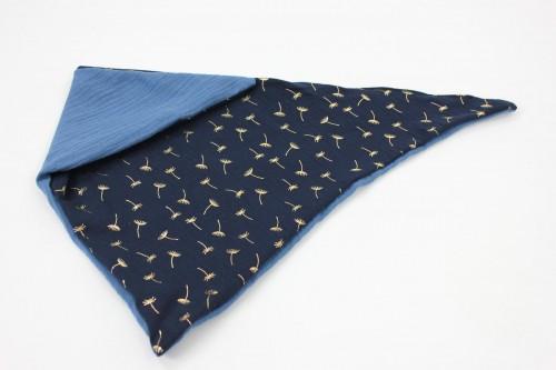 Musselintuch zum Wenden goldene Pusteblumen marineblau/blau