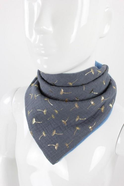 Musselintuch zum Wenden goldene Pusteblumen grau/blau