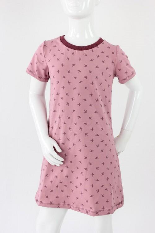 Kinder-Shirtkleid rosa mit Vögeln