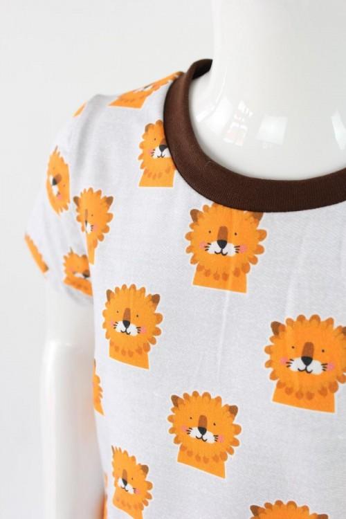 Kinder-Shirtkleid hellgrau meliert mit Löwen BIO-STOFFE