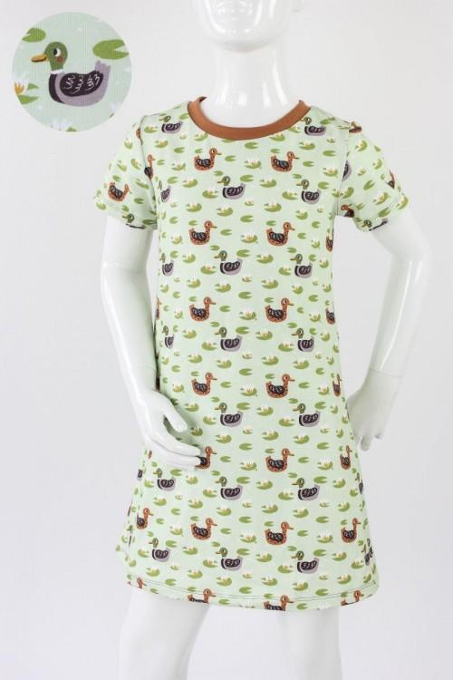 Kinder-Shirtkleid hellgrün mit Enten