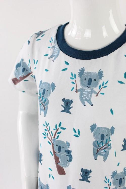 Kinder-Shirtkleid weiß mit Koalas BIO-STOFFE