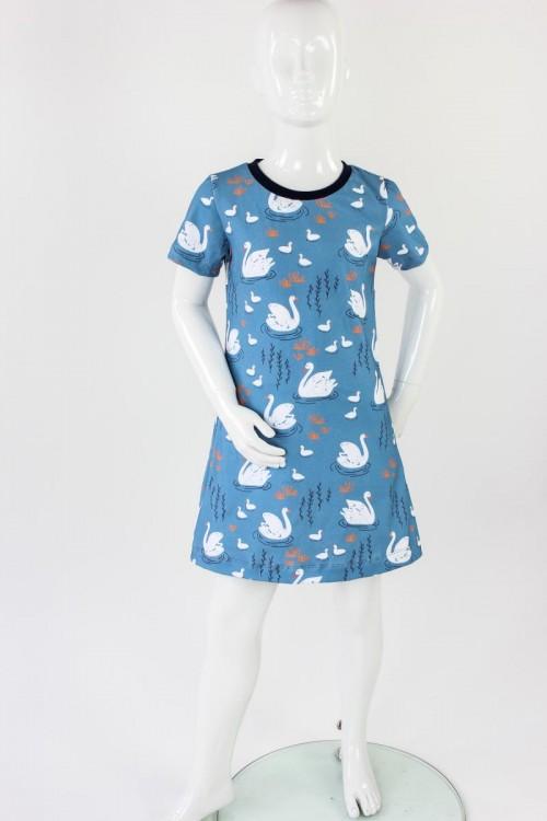 Kinder-Shirtkleid blau mit Schwänen BIO-STOFFE