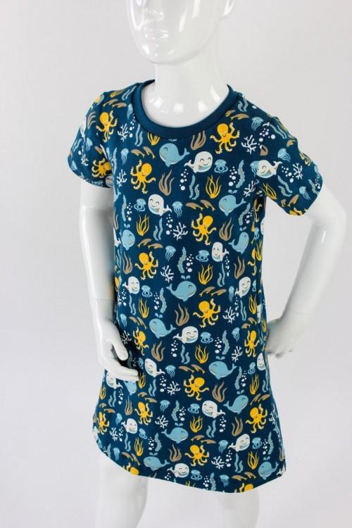 Kinder-Shirtkleid dunkelblau mit Meerestieren BIO-STOFFE