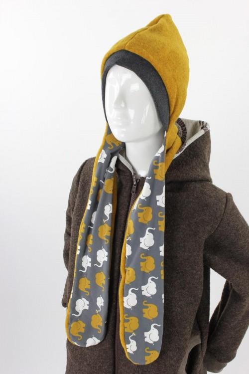 Fleece-Schalmütze zum Wenden gelb meliert mit Elefanten auf grau