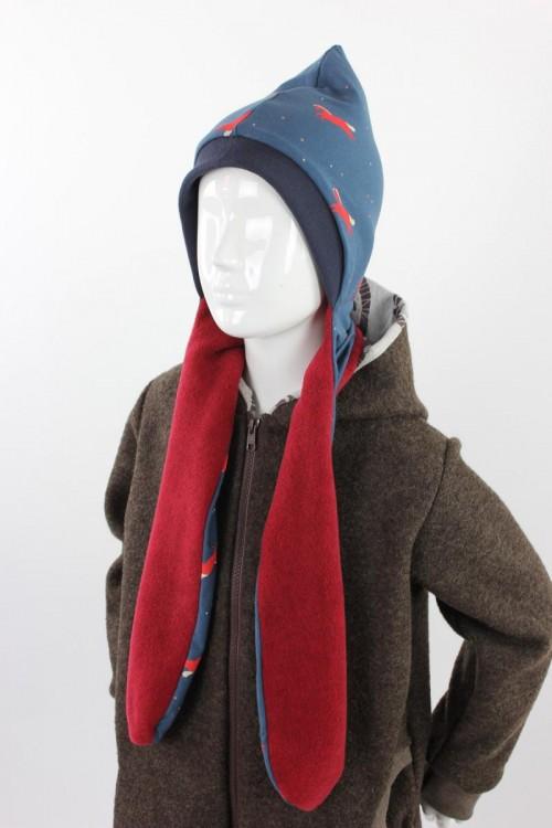 Fleece-Schalmütze zum Wenden rot meliert mit Pferden auf blau