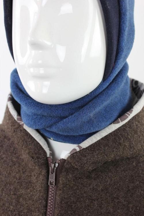 Fleece-Schalmütze zum Wenden blau meliert mit Dinoskeletten
