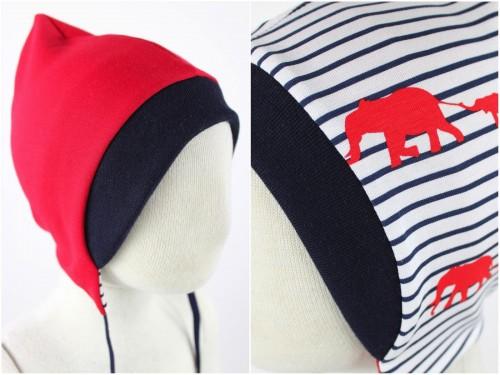 Sweatmütze zum Wenden rot / Elefanten gestreift