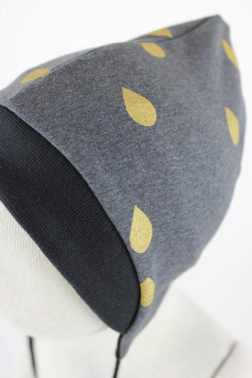 Sweatmütze zum Wenden grau goldene Tropfen / schwarz