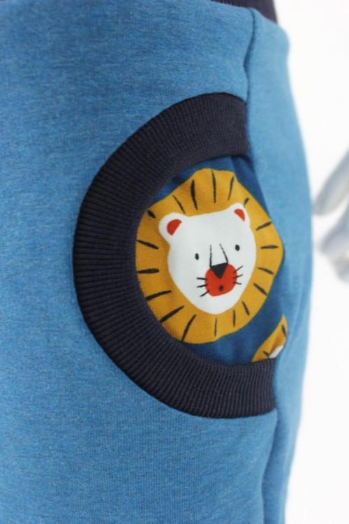 Tobehose für Kinder blau meliert mit Löwen
