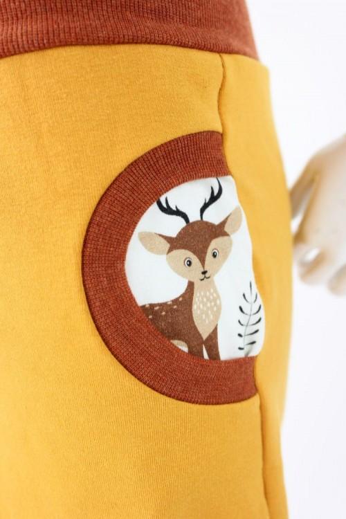 Tobehose für Kinder gelb mit Waldtieren