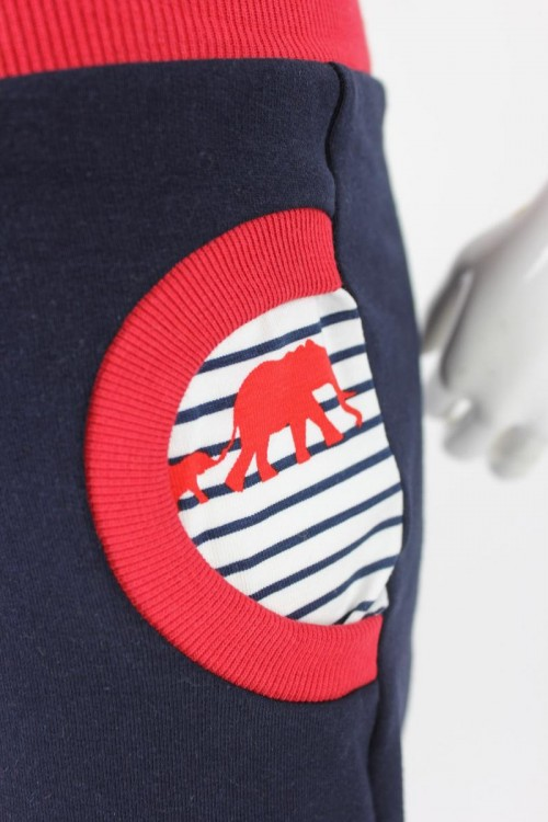 Tobehose für Kinder marineblau mit Elefanten auf Streifen