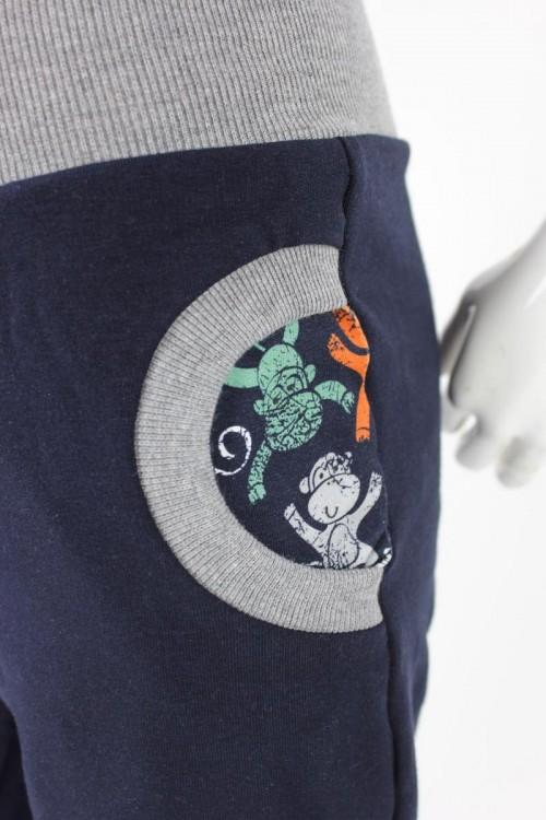 Tobehose für Kinder marineblau mit Affen