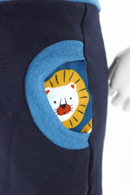 Tobehose für Kinder marineblau mit Löwen