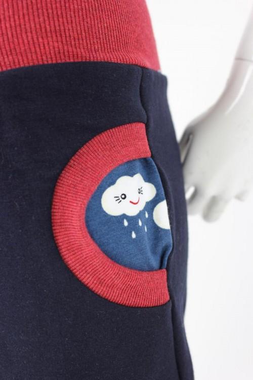 Tobehose für Kinder marineblau mit Regenwolken