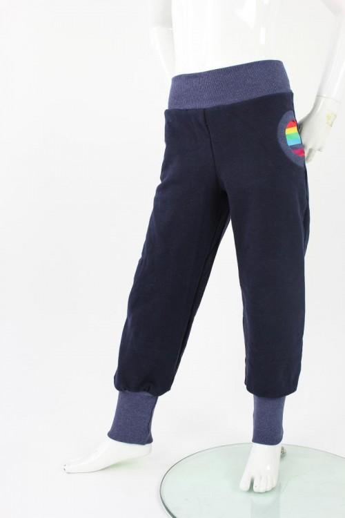 Tobehose für Kinder marineblau mit Regenbogenstreifen
