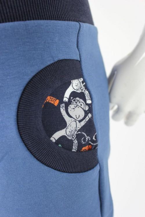 Tobehose für Kinder taubenblau mit Affen