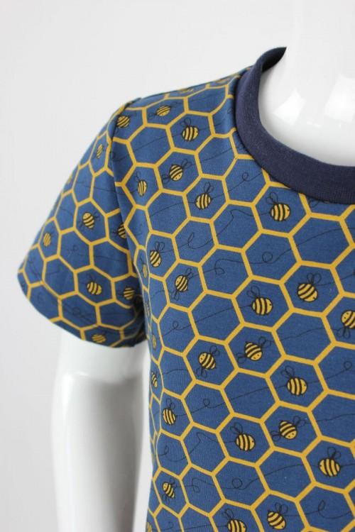 Kinder-T-Shirt blau mit Bienenwaben
