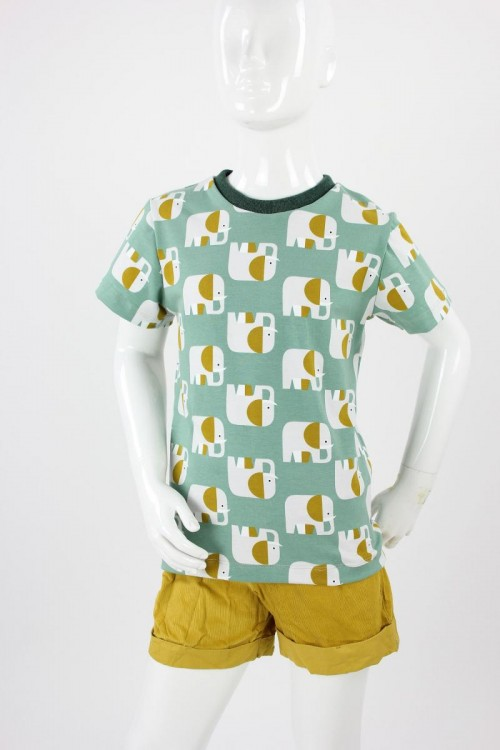 Kinder-T-Shirt mintgrün mit Elefanten
