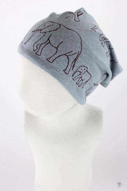 Beanie zum Wenden mit Elefantenfamilie auf grau