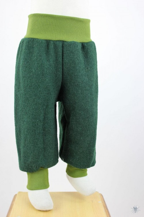 Wollhose dunkelgrün mit grünen Bündchen