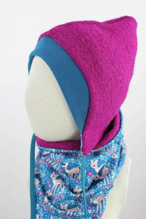 Kinder-Wollmütze zum Wenden pink mit Rehen auf blau