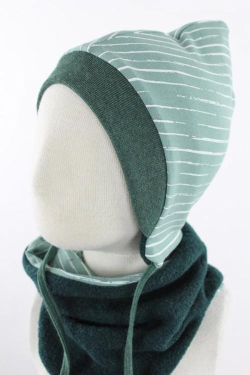 Kinder-Wollmütze zum Wenden dunkelgrün mit Streifen auf hellgrün