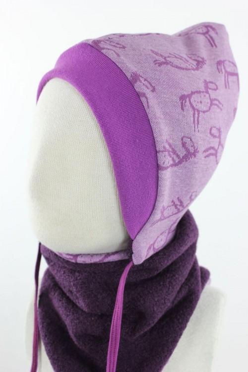 Kinder-Wollmütze zum Wenden lila mit Pferden