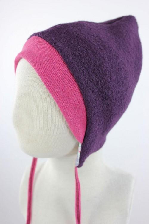 Kinder-Wollmütze zum Wenden lila mit Wintertieren
