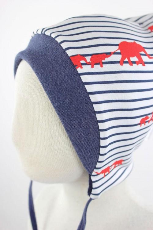Kinder-Wollmütze zum Wenden marineblau mit Elefanten gestreift
