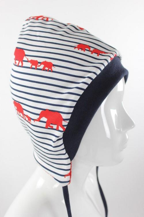 Kinder-Wollmütze zum Wenden rot mit Elefanten gestreift