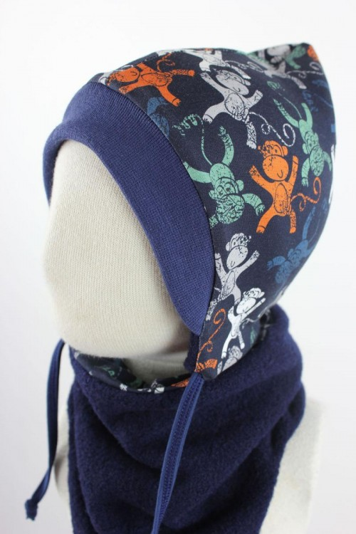 Kinder-Wollmütze zum Wenden marineblau mit Affen