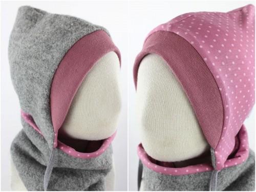 Kinder-Wollmütze zum Wenden grau mit Punkten auf rosa