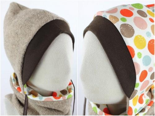 Kinder-Wollmütze zum Wenden beige mit bunten Punkten