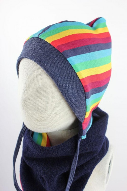 Kinder-Wollmütze zum Wenden marineblau mit Regenbogenstreifen