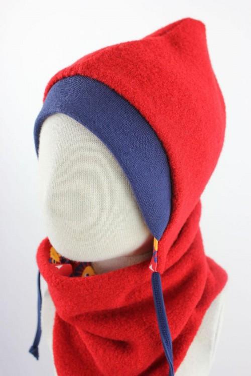 Kinder-Wollmütze zum Wenden rot mit Löwen