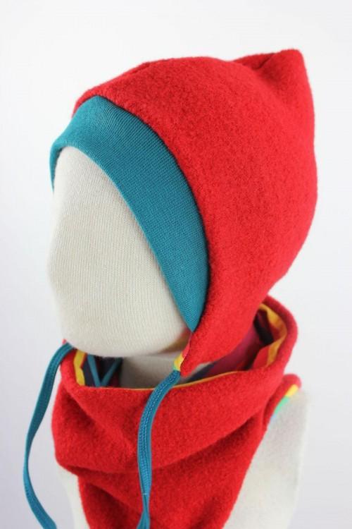 Kinder-Wollmütze zum Wenden rot mit Regenbogenstreifen
