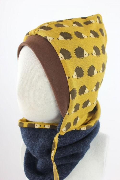 Kinder-Wollmütze zum Wenden marineblau meliert mit Igeln BIO-STOFFE