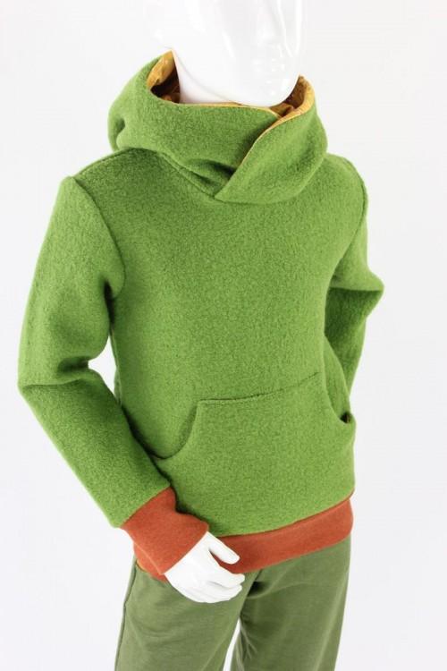 Kinder-Wollpulli aus atmungsaktivem Wollwalk grün mit Dinos