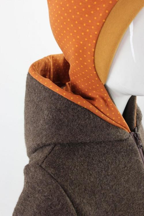 Kinder-Wolljacke braun mit Punkten auf orange