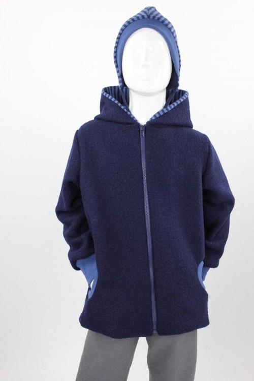Kinder-Wolljacke marine mit blauen Streifen