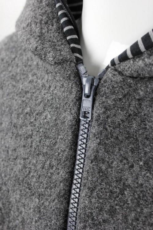Kinder-Wolljacke anthrazit mit schwarz-grauen Streifen