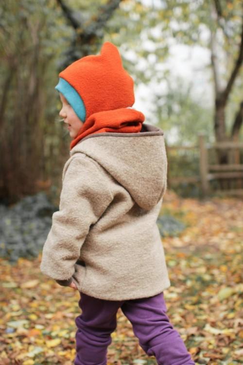Kinder-Wolljacke beige und braun meliert